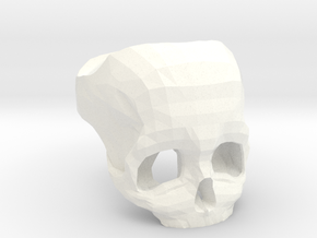 3D Printed Skull Ring by Bits to Atoms in White Strong & Flexible Polished