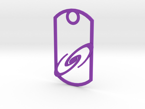 Spiral galaxy dog tag in Purple Strong & Flexible Polished