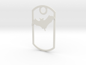 Bat awareness dog tag in White Strong & Flexible