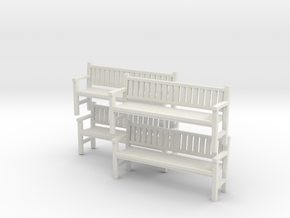 Park Bench x 4 - 4mm Scale in White Strong & Flexible
