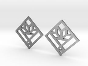 Cactus Basket Quilt Block Earrings - Dangle in Polished Silver