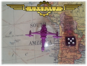 Interceptor1 | Steampunk Airship Miniature in Purple Strong & Flexible Polished