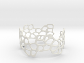 Cells Bracelet (open, 64mm) in White Strong & Flexible
