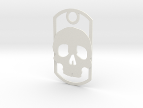 Skull dog tag in White Strong & Flexible