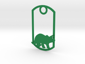 Triceratops dog tag in Green Strong & Flexible Polished