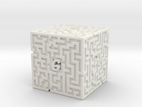 6 Sided Maze Die in White Strong & Flexible