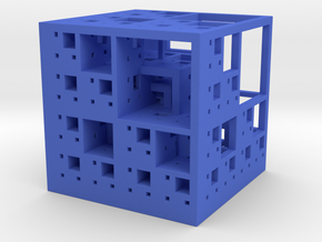 Menger Cube in Blue Strong & Flexible Polished