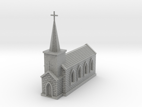 N Scale Small Church with Steeple 1:160 in Metallic Plastic