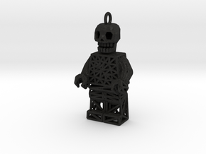 Los Muertos Lego Man Key Chain in Black Acrylic