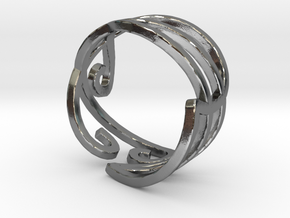 Elven Swirly Ring in Polished Silver