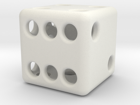 Balanced Hollow Dice (D6) (1.5cm) (Method 1) in White Strong & Flexible