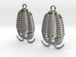 Trilobites Earrings in Polished Silver