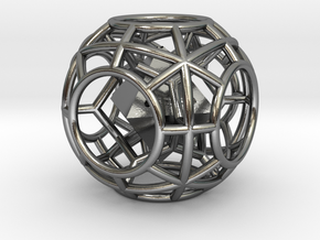 Rolling die 6-sided in Polished Silver