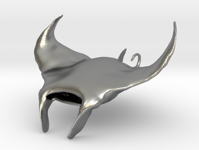 Manta Ray pendant in Raw Silver