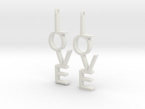 Love Earrings Small  in White Strong & Flexible