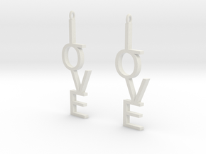 Love Earrings Large  in White Strong & Flexible