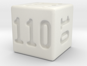 Binary 110-Sided Die in White Strong & Flexible