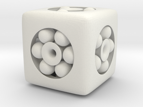 Ball Bearing 6-Sided Die (small) in White Strong & Flexible
