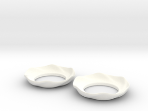 Bobeche (candle cuff) Mk2 in White Strong & Flexible Polished