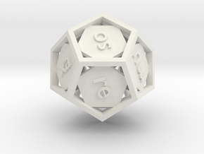 Lojban d12 - 12-sided die in White Strong & Flexible