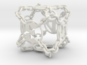 Chained Die (D6) in White Strong & Flexible