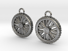 Dirt bike Wheel and Tire Earings in Polished Silver