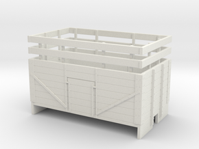 OO9 7 Plank mineral wagon with rails  in White Strong & Flexible
