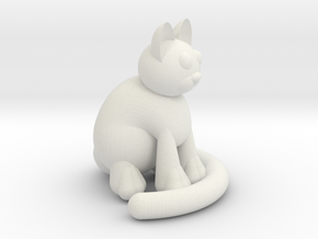 One Sitting Cat in White Strong & Flexible