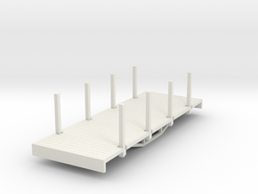 OO9 bogie flat with stakes (short) in White Strong & Flexible