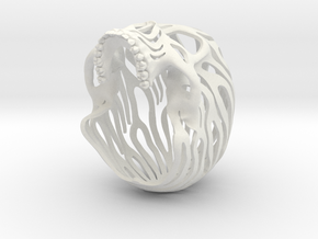 Skull Flames P2 Top- 6.2cm in White Strong & Flexible