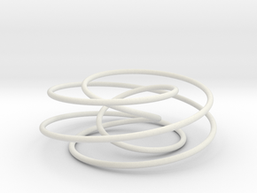 Cinquefoil Knot, 6cm thin version in White Strong & Flexible