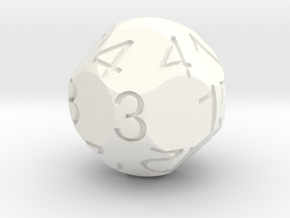 D15 Sphere Dice in White Strong & Flexible Polished