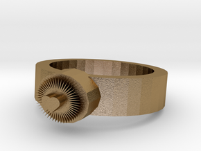 Bright Heart Metal Ring in Polished Gold Steel