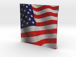 EMS Plaque with American Flag in Full Color Sandstone