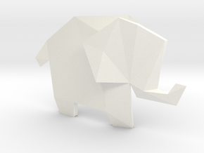 Origami Elephant  in White Strong & Flexible Polished