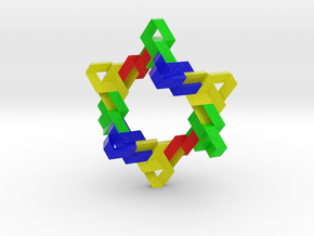 Ten Linked Trefoil Knots from Triangular Beam in Full Color Sandstone