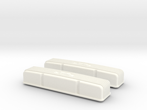 1/8 SBC Edelbrock Valve Covers in White Strong & Flexible Polished