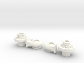 1/8 Scale 3 Inch Right And Left Turbo in White Strong & Flexible Polished