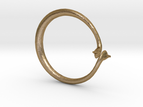 Cygnus Olor Swan Ring in Polished Gold Steel