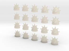 20 28mm Custom Shoulder Pad Spiky Wolf Spikes in White Acrylic