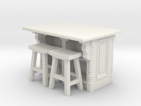 1:48 Farmhouse Island, with stools in White Strong & Flexible