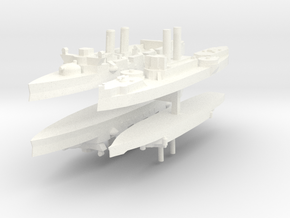 Span-Am Fleet 1:1800 (4 ships) in White Strong & Flexible Polished