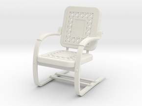 1:24 Metal Lawn Chair (Not Full Size) in White Strong & Flexible