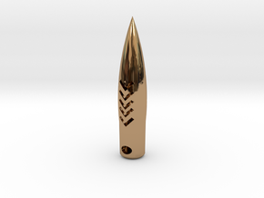 50 Caliber  Hogs-tooth Pendant Round in Premium Me in Polished Brass