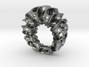 Gyroid Ring in Raw Silver