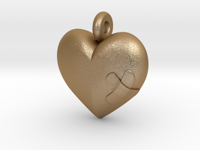 Wounded Heart Pendant in Matte Gold Steel