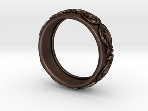 Antique pattern band in Matte Bronze Steel