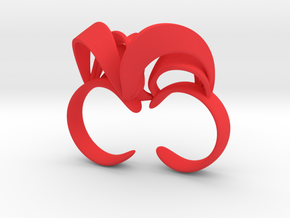 Ribbon Double Ring 6/7  in Red Strong & Flexible Polished