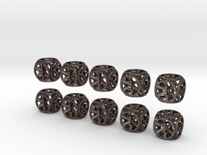 Gear Dice - D6 10 Pack in Stainless Steel