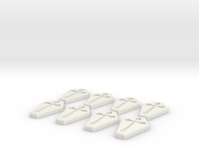 Coffin Buttons in White Strong & Flexible